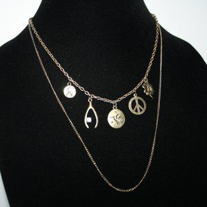 """Rustic gold charm necklace 16"""""""